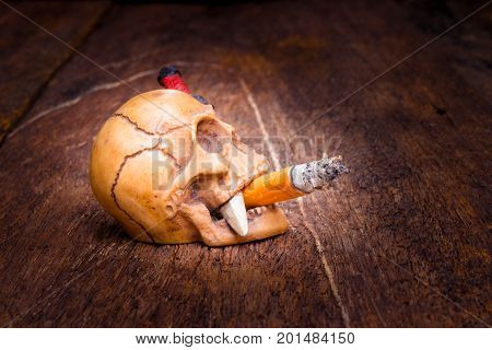 skull and cigarette smoke cigarette with copy space add text ( concept world on cigarette day ) on dark vintage wood background