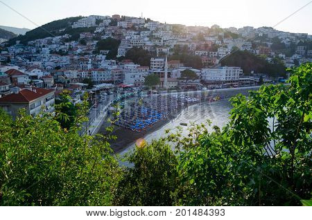 View of city center of Ulcinj, Montenegro. Small beach - Mala Plaza in the morting time.
