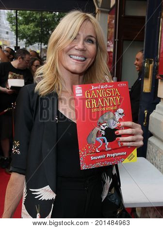 LONDON, UK, AUG 01, 2017: Michelle Collins arrives to the Gangsta Granny play press night picture taken from the street