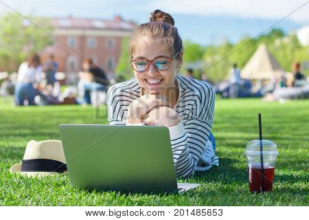 Closeup Portrait Of Young Beautiful Female Looking At Laptop Display With Excitement And Gesture Of