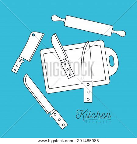 color background with set silhouette group of kitchen utensils knifes and cutting board with roll vector illustration