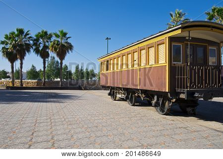 Retro wooden railway carriage at old station of Tel Aviv. Israel historic train on the line from Tel Aviv to Jerusalem