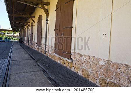 Retro railroad station platform in Tel Aviv. Israel historic warehouse on the line from Tel Aviv to Jerusalem