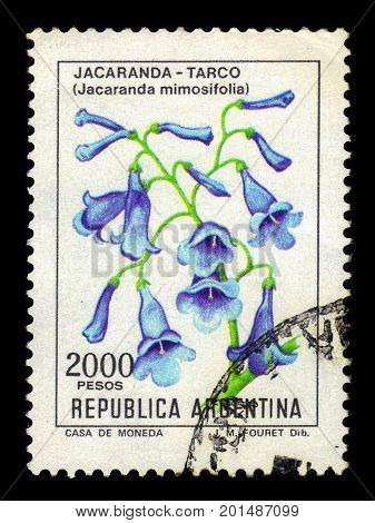 ARGENTINA - CIRCA 1983: a stamp printed in the Argentina shows blue jacaranda, jacaranda mimosifolia is a sub-tropical tree, series, circa 1983