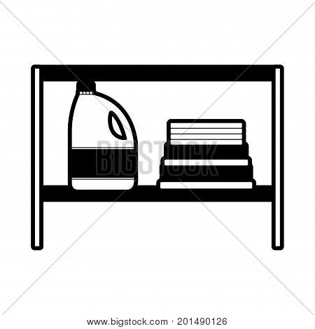 black sections silhouette of rack with bleach clothes bottle and folded towels vector illustration