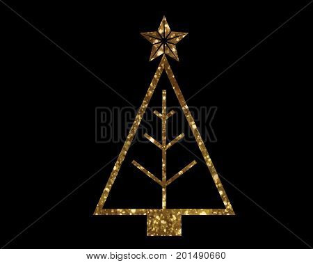 Vector Golden Glitter Christmas Tree Line Icon
