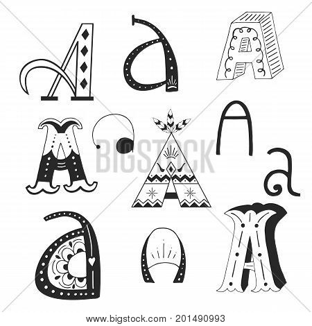 Unique Collection Of Hand Drawn Letter A With Doodle Ornament. Cute Lettering Boho Style Script. Abc