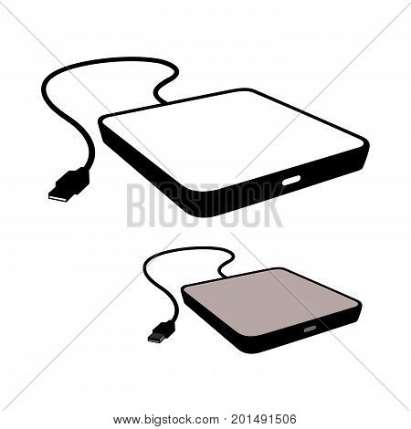 External optical drive icons, black on white