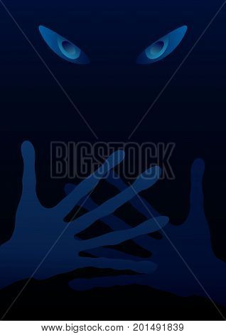 Extraterrestrial background (eyes and hands in the dark)