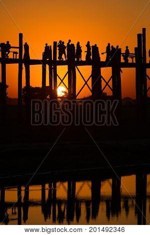 Sunset at the U Bein bridge. Amarapura, Burma