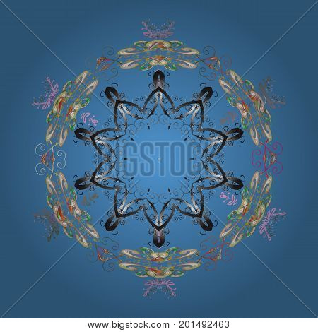 Snowflakes pattern. Snowflake colorful pattern. Vector snowflakes background. Vector illustration. Flat design with abstract snowflakes isolated on colors background.