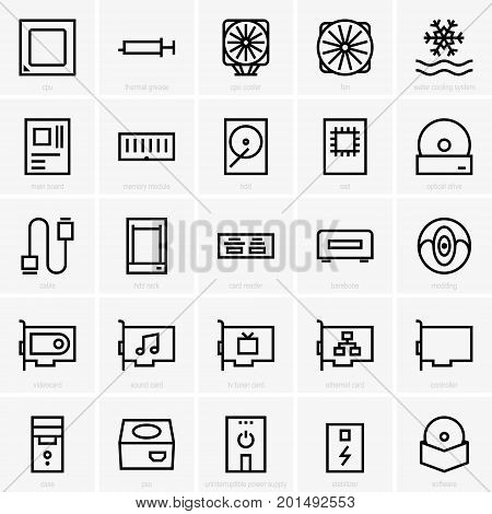 Set of twenty five computer components icons