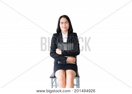 Asian Business Woman With Working Suit Sitting With File Of Document