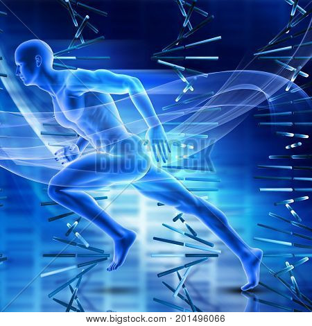3D render of a male figure sprinting on DNA strands background