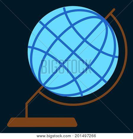 Desktop geographic globe flat icon, vector sign, colorful pictogram isolated on black. Symbol, logo illustration. Flat style design
