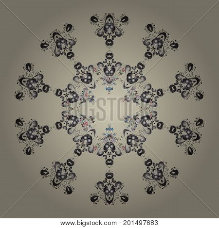 Snowflake ornamental pattern. Vector illustration. Snowflakes background. Snowflakes pattern. Flat design with abstract snowflakes isolated on colorful background.