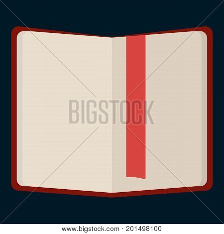 Notebook with bookmark flat icon, vector sign, colorful pictogram isolated on black. Symbol, logo illustration. Flat style design