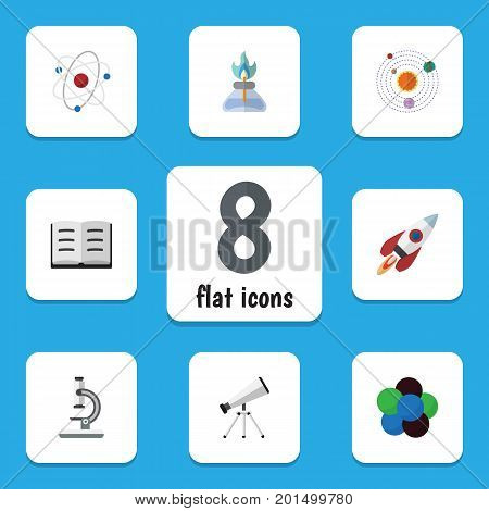 Flat Icon Knowledge Set Of Lecture, Flame, Proton And Other Vector Objects