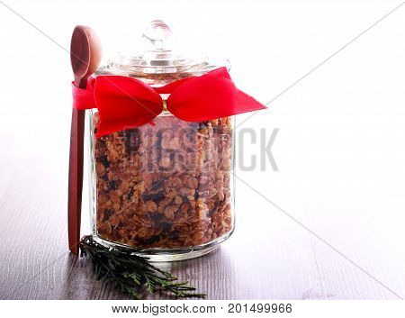 Homemade granola in a jar for edible gift