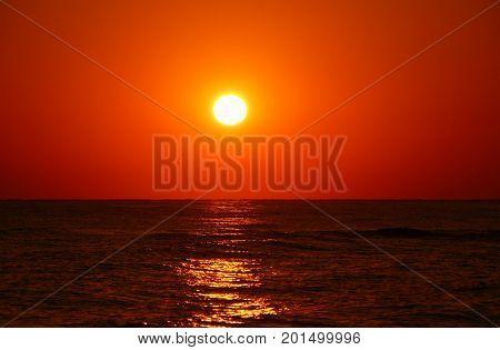 Sunrise over the sea in Rethymnon Greece