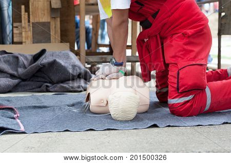 First aid training detail. Cardiopulmonary resuscitation - CPR.