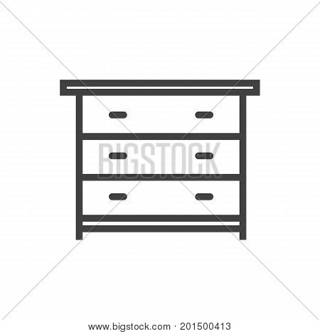 Vector Drawer Unit Element In Trendy Style.  Isolated Commode Outline Symbol On Clean Background.