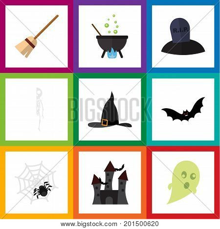 Flat Icon Festival Set Of Witch Cap, Spinner, Broom And Other Vector Objects
