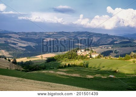 Rural landscape at summertime along the road from Carmine to Godiasco (Pavia Lombardy Italy)