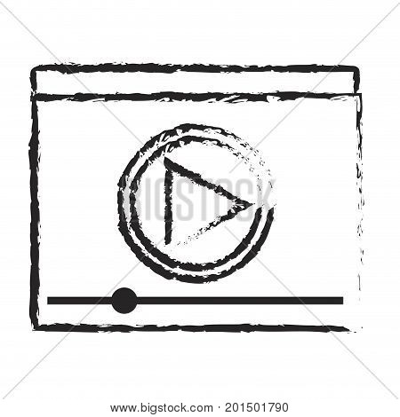 monochrome blurred silhouette of window with start playback icon vector illustration
