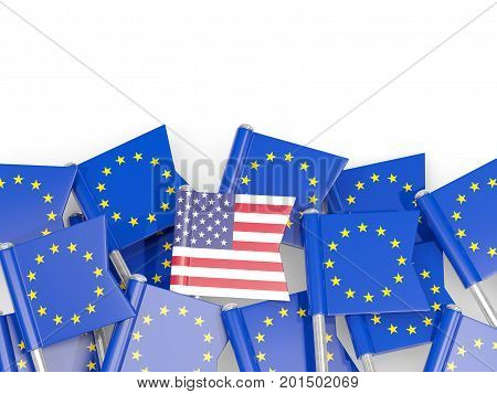 Flag Pins Of Usa And Eu Isolated On White