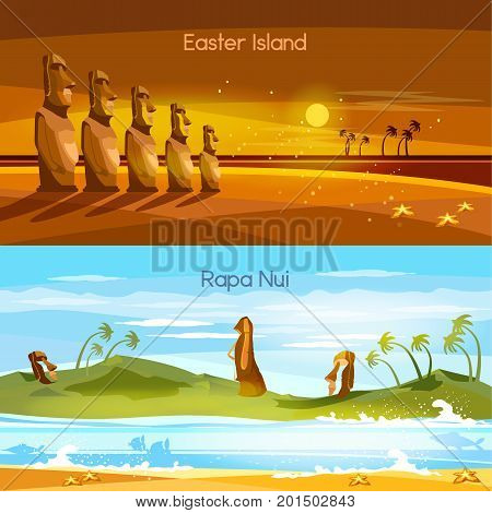 Easter Island landscape banners Moai statues of Easter island landscape Polynesia. Stone idols. Tourism and vacation tropical background