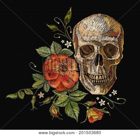 Embroidery skull and roses. Dia de muertos day of the dead art. Gothic romanntic embroidery human skulls red roses clothes template and t-shirt design vector