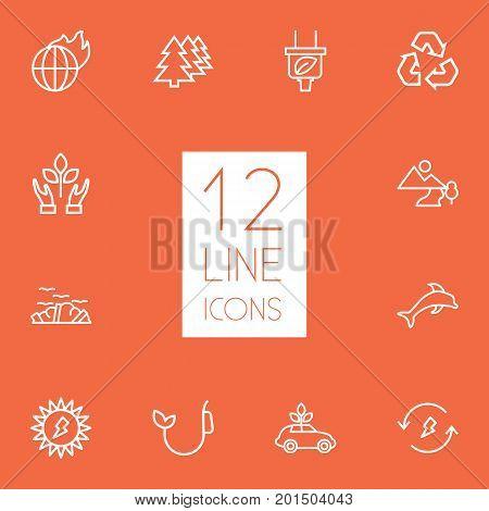Collection Of Landscape, Afforestation, Plug Elements.  Set Of 12 Atmosphere Outline Icons Set.