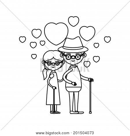 sketch silhouette of caricature full body elderly couple embraced with floating hearts grandfather with hat in walking stick and grandmother with side ponytail hair and glasses vector illustration