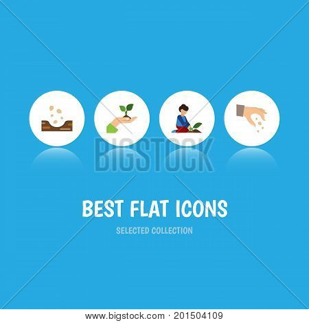 Flat Icon Seed Set Of Sow, Florist, Care And Other Vector Objects