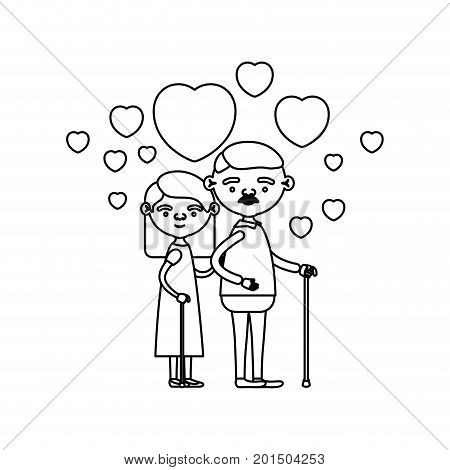 sketch silhouette of caricature full body elderly couple embraced with floating hearts grandfather with moustache in walking stick and grandmother with straight hair vector illustration