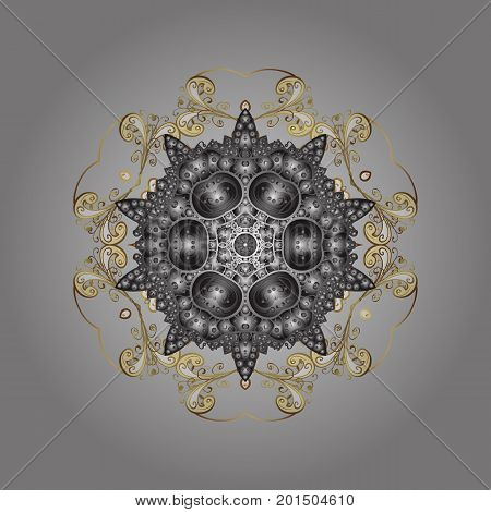 Snowflake ornamental pattern. Snowflakes pattern. Flat design with abstract snowflakes isolated on gray background. Vector illustration. Snowflakes background.