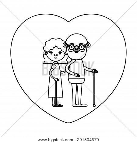 sketch silhouette of heart shape greeting card with caricature full body elderly couple embraced bearded grandfather in walking stick and grandmother with wavy hair vector illustration