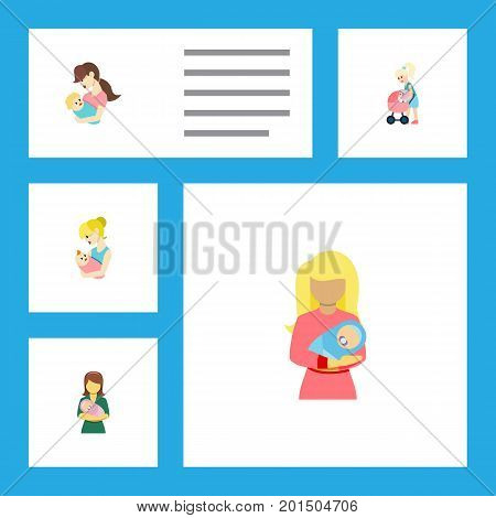 Flat Icon Mam Set Of Child, Kid, Woman And Other Vector Objects