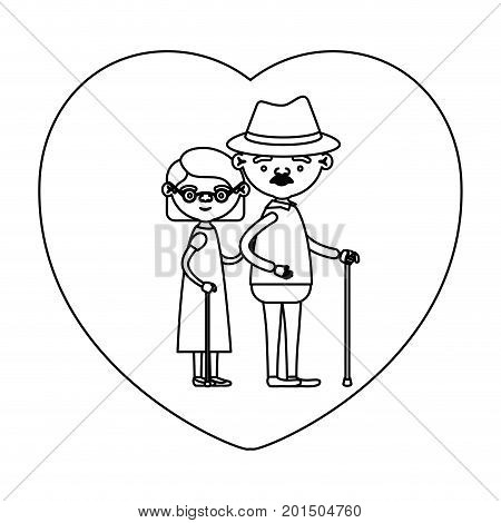 sketch silhouette of heart shape greeting card with caricature full body elderly couple embraced grandfather with hat and moustache in walking stick and grandmother with short hair vector illustration