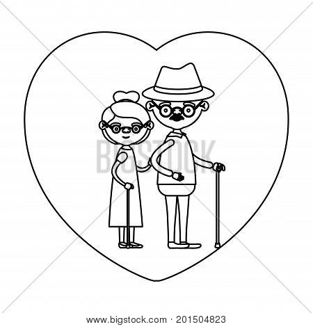 sketch silhouette of heart shape greeting card with caricature full body elderly couple embraced grandfather with hat and moustache in walking stick and grandmother with collected hair vector illustration
