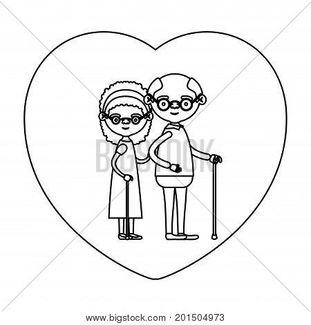 sketch silhouette of heart shape greeting card with caricature full body elderly couple embraced grandfather with glasses in walking stick and grandmother with bow lace and curly hair vector illustration poster