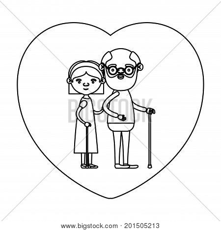 sketch silhouette of heart shape greeting card with caricature full body elderly couple embraced grandfather in walking stick and grandmother with bow lace and straight hair vector illustration poster