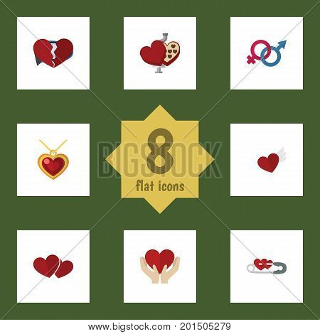 Flat Icon Love Set Of Divorce, Shaped Box, Soul And Other Vector Objects