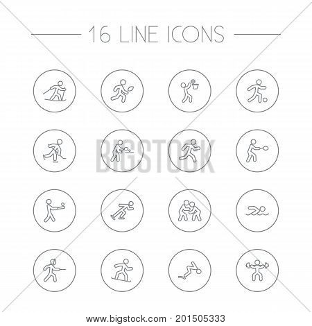 Collection Of Diving, Rocket, Pong Ping And Other Elements.  Set Of 16 Fitness Outline Icons Set.