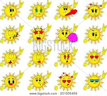 Cartoon sun with hands in rocker pose. Collection with various facial expressions. Vector set.