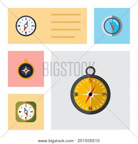 Flat Icon Compass Set Of Instrument, Geography, Divider And Other Vector Objects