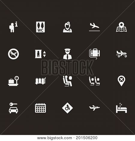 Collection Of Toilet, Sitting Man, Tourism And Other Elements.  Set Of 20 Airplane Icons Set.