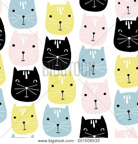 Cute cats faces seamless pattern. Vector childish background