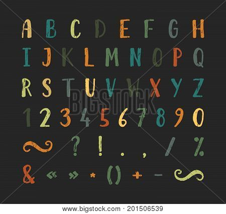 Handwritten bold grunge texture font with punctuation marks on black background. Uppercase font contains question mark, exclamation point, period, comma, dash, hyphen, bracket etc. Vector illustration